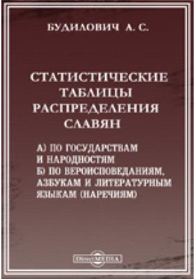 Статистические таблицы распределения славян. А) по государствам и народностям. Б) по вероисповеданиям, азбукам и литературным языкам (наречиям)