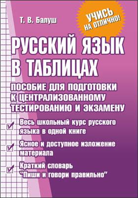Русский язык в таблицах : пособие для подготовки к централизованному тестированию и экзамену: учебное пособие