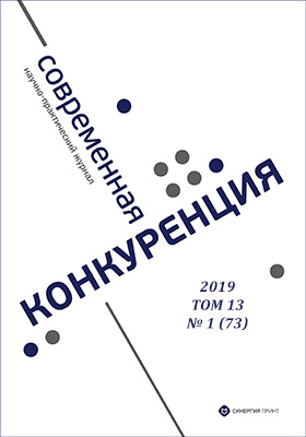 Современная конкуренция: журнал. 2019. № 1 (73)