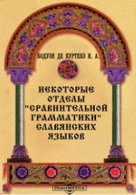"""Некоторые отделы """"Сравнительной грамматики"""" славянских языков"""