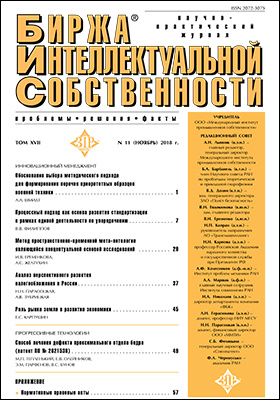 Биржа интеллектуальной собственности : проблемы, решения, факты: журнал. 2018. Том 17, № 11